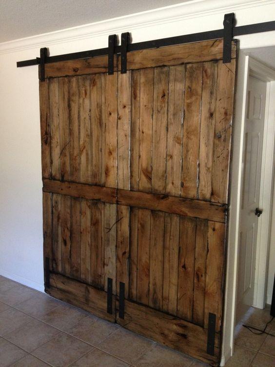Schrijnwerk binnen schuifdeur, steigerhout, gebruikt hout, staal, loftdeur.